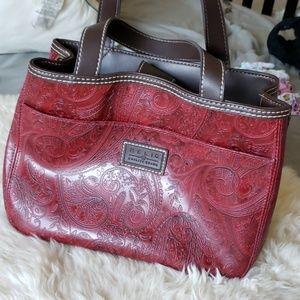 Relic wine burgundy Paisley print handbag